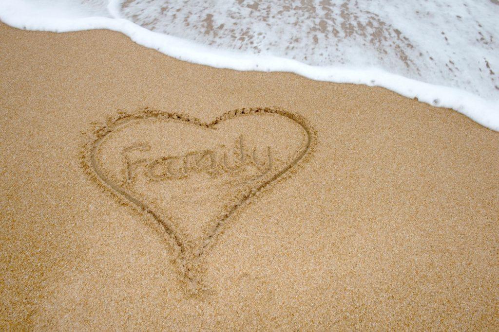 family heart on the beach